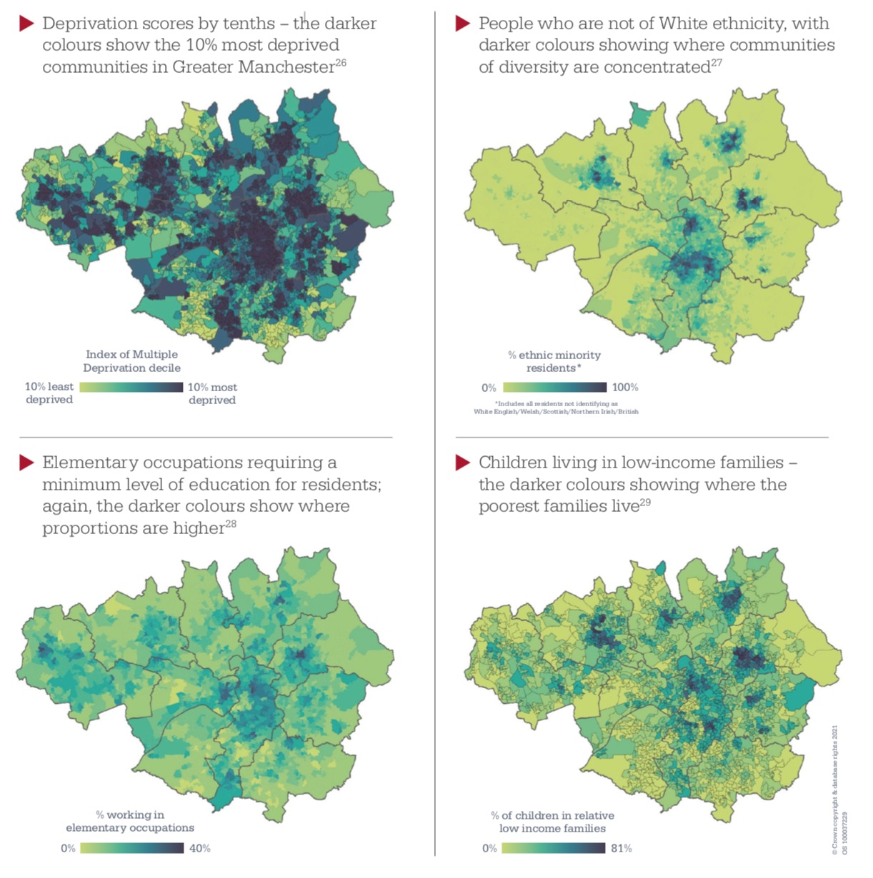Geography of deprivation Manchester 2021 inequalities report