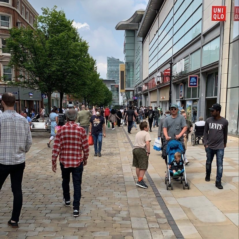 Some shoppers in the city centre were not wearing face masks