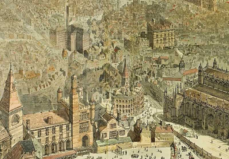 A detailed panorama of the city centre by H.W. Brewer c.1889