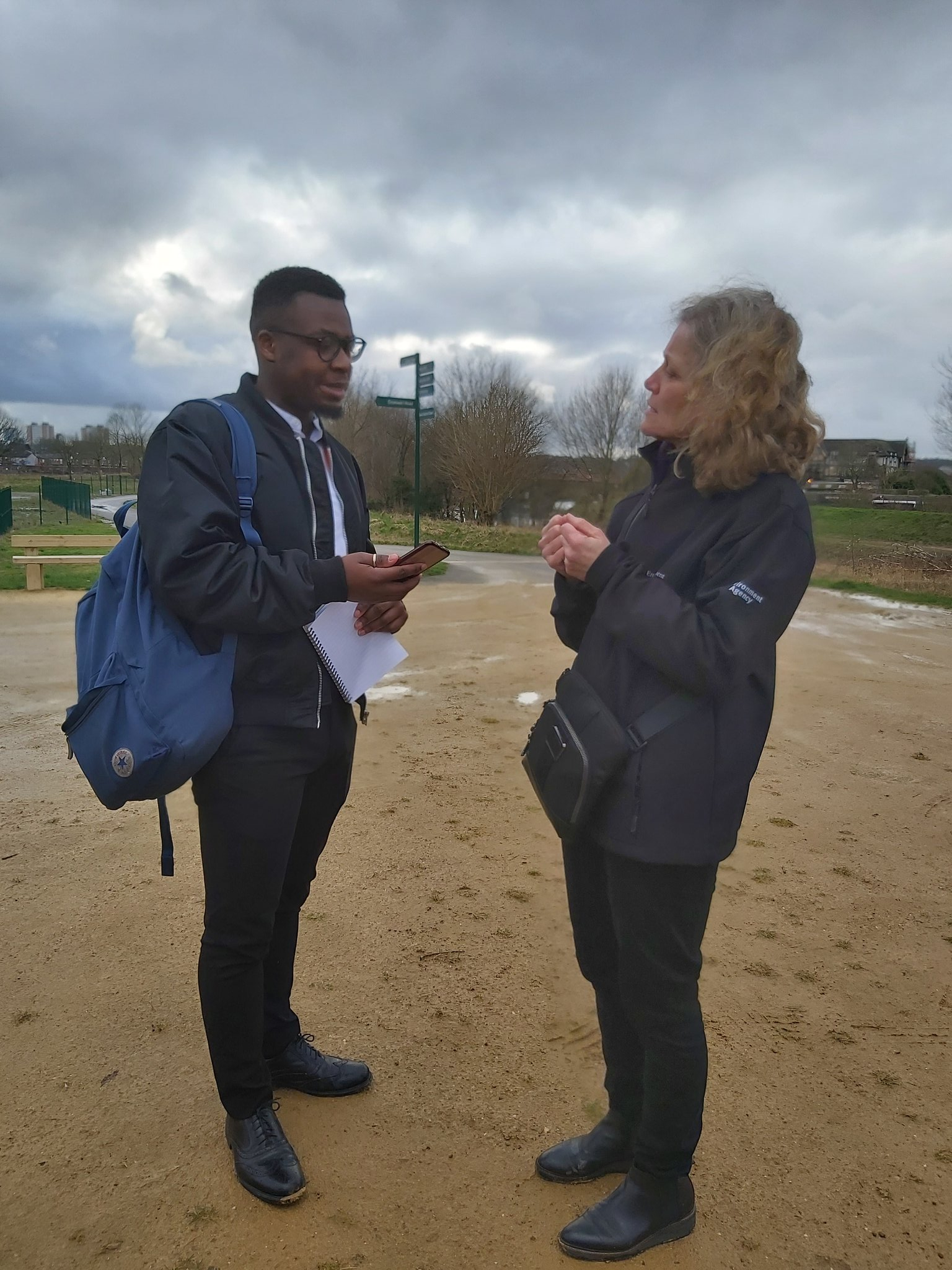 Ramazani Mwamba in more normal times interviewing the chair of the Environment Agency, Emma Howard Boyd in Kersal Wetlands