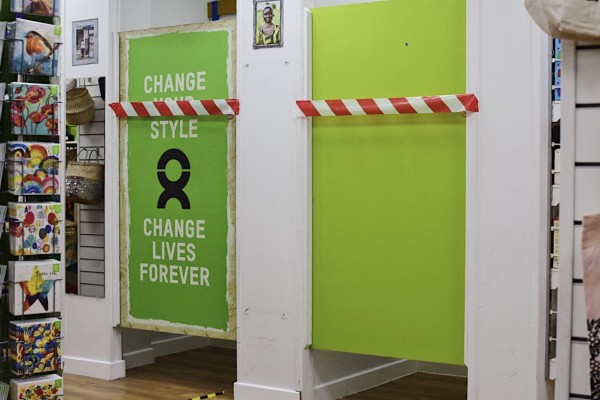 Changing rooms at Oxfam have been cordoned off during the covid-19 crisis