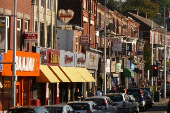 The Curry Mile of Manchester in Rusholme with it's variety of takeouts. curry houses and kebab shops