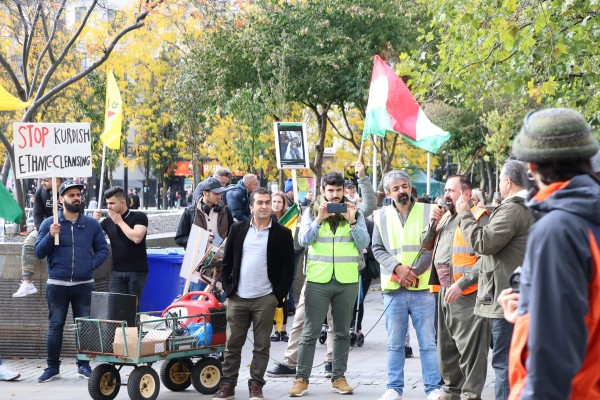 Kurdish demonstration in Piccadilly Gardens